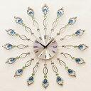 掛け時計 デザインウォールクロック ピーコック 孔雀の羽 YGZ-2494【あす楽対応】乾電池付