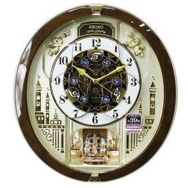 セイコー からくり時計 メロディ39曲 スワロフスキー・クリスタル 連続秒針 茶マーブル模様 RE579B ブラウン 送料無料【あす楽対応】電波掛け時計 電波時計 動画あり