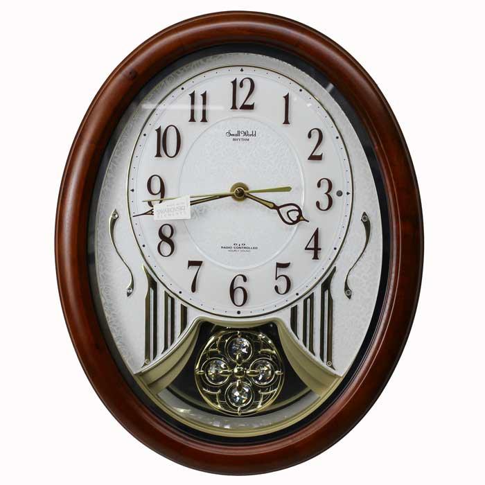 リズム時計 Small World 電波掛け時計 スモールワールドストリーム メロディ30曲 木枠 茶色半艶仕上 飾り振子付4MN510RH06 送料無料 シチズン