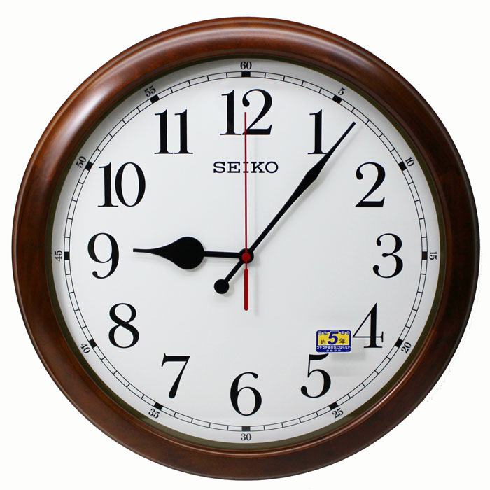 送料無料★セイコークロック SEIKO 掛け時計 超大型 50cm 木枠 スイープセコンド 電波時計 KX238B 送料無料【あす楽対応】