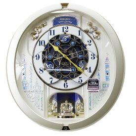 セイコー からくり時計 電波掛け時計 メロディ全39曲 スワロフスキー・クリスタル 連続秒針 RE579S 薄金色パール塗装 動画あり 送料無料【あす楽対応】
