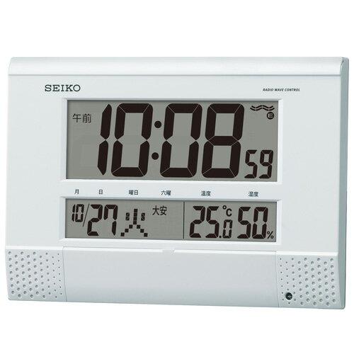 セイコークロック  掛け置き兼用デジタル時計 電波時計 温度表示 湿度表示 プログラム機能 SQ435W【あす楽対応】
