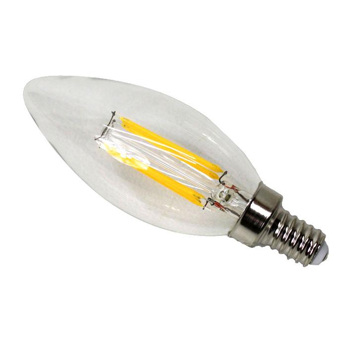 LEDフィラメント電球 4W E12 水雷型シャンデリアLED電球 C37-4W-E12 電球色【あす楽対応】
