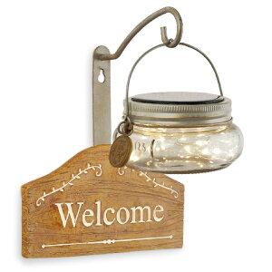 ウェルカムプレート 茶 フェアリーライト LEDソーラーライト ガーデンライト ボトル型LEDライト KL-10362【あす楽対応】