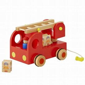エドインター カタカタ 森の消防隊 消防車 木のおもちゃ 2歳 3歳 4歳 誕生日 プレゼント 男の子 知育玩具