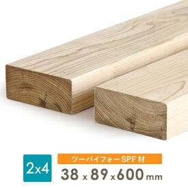 【3本セット】ディメンションランバー2x4 SPF ツーバイ材2×4 木材約38x89x600(ミリ)2カットまで無料、3カット目から有料
