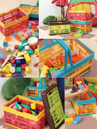 折りたたみ収納ボックススタッチボックス【ケースバスケットプラスチック製おもちゃ箱小物入れかご収納カラフル子供部屋おもちゃキッズ収納ボックスおしゃれ室内衣替え】