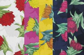 生地 布 ハワイアン アロハ ファブリック 生地 かわいい おしゃれ 花柄プリント プロテア パウスカートに最適 注)個数1=10cmです。50cm以上、10cm単位の販売です。【2mまでメール便可能】 木綿のかおり
