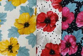 北欧デザイン 花柄 ドット プリント バッキンガム風 凹凸 生地 ファブリック 綿100% ニーナ 北欧風 生地 プリント おしゃれ かわいい 布