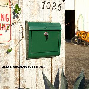 【全8色】ARTWORKSTUDIO(アートワークスタジオ):Mail box 文字なし(メールボックス:横型・キーロック)スチール/レトロ/メールボックス/新居祝い/新築祝い/DIY/ガーデニング/鍵付