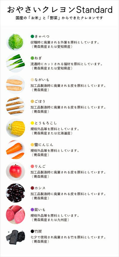 おやさいクレヨン:「野菜そのもの」の色だから10色それぞれには野菜の名前がつけられています。