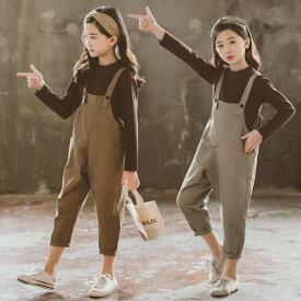 韓国子供服 2点セット 春秋 カジュアル ナチュラル tシャツ+ズボン 長袖 オールインワン tシャツ 切り替え セットアップ ゆったり リゾート 女の子 キッズ こども 可愛い きれいめ ビーチ //卒園式/入学式/パーティ コーヒー グレー