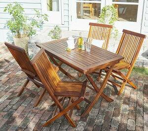 チーク天然木 折りたたみ式本格派リビングガーデンファニチャー mosso モッソ 5点セット(テーブル+チェア4脚) チェア肘無 W120