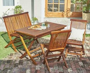 チーク天然木 折りたたみ式本格派リビングガーデンファニチャー mosso モッソ 4点セット(テーブル+チェア2脚+ベンチ1脚) チェア肘無 W120