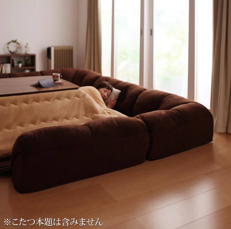 こたつに合わせるフロアコーナーソファ コの字タイプ 大 40mm厚