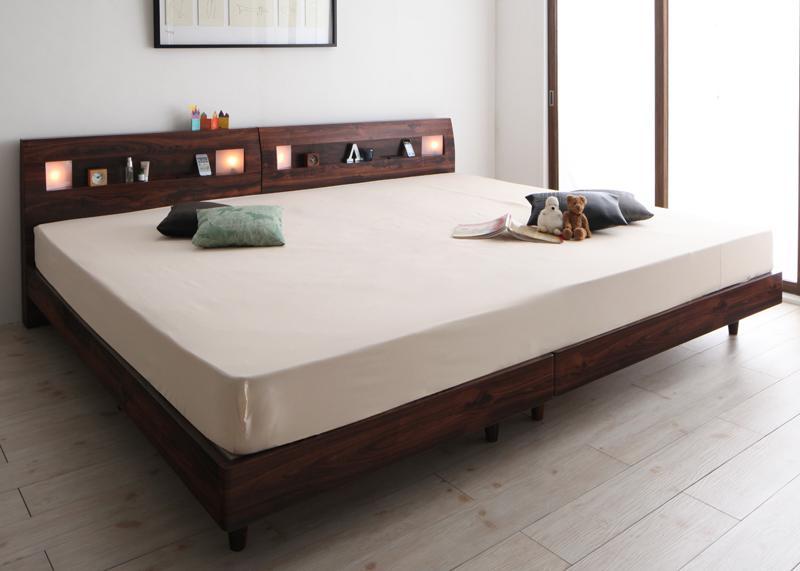 棚・コンセント・ライト付きデザインすのこベッド ALUTERIA アルテリア ボンネルコイルマットレスレギュラー付き ワイドK280