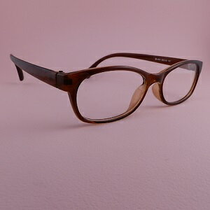 【メガネ】【送料無料】伊達めがね シンプル ブラウン ブラックケース付