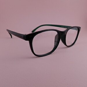 【メガネ】【送料無料】伊達めがね  ブラックxグリーン  ブラックケース付