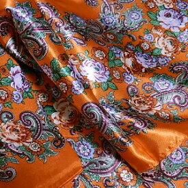 スカーフ メール便送料無料 スカーフ柄 花柄 オレンジ 訳あり商品 大特価