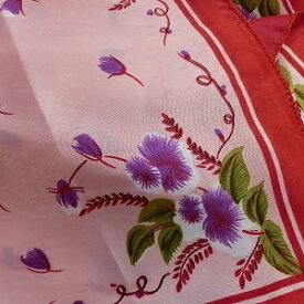 【レディース】【スカーフ】【メール便送料無料】スカーフ  フラワー 花柄 ピンクxレッド 訳あり商品 大特価