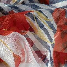【レディース】【スカーフ】【メール便送料無料】スカーフ シフォンスカーフ レッド フラワー 花柄 ストライプ柄 訳あり商品 大特価 薄手 春夏