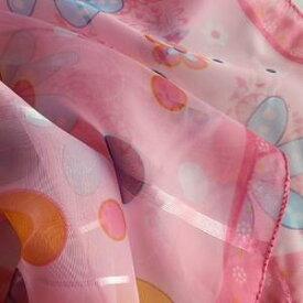 スカーフ メール便送料無料 スカーフ柄 シフォンスカーフ ピンク かわいい キュートな花柄 訳あり商品 大特価 薄手 春夏