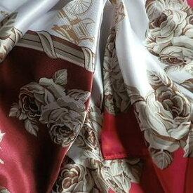 スカーフ 大判 メール便送料無料 スカーフ 高級プリント柄 大人の女性に  ローズ柄 ばら 薔薇柄 レッド 訳あり商品 大特価