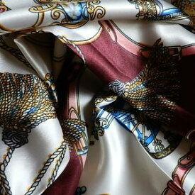 スカーフ 大判 メール便送料無料 スカーフ 高級プリント柄 大人の女性に  馬車柄 レッド 訳あり商品 大特価