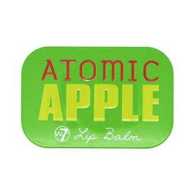 W7 フルーティーリップバームATOMIC APPLE アップルの香り【ダブルセブン、リップバーム、リップクリーム、リップケア、リップ下地、海外コスメ、ロンドンコスメ、キャンディ缶、フルーツ、りんご、グリーン、ワセリン】