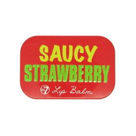 W7 フルーティーリップバームSAUCY STRAWBERRY ストロベリーの香り【ダブルセブン、リップバーム、リップクリーム、リップケア、リップ下地、海外コスメ、ロンドンコスメ、キャンディ缶、フルーツ、イチゴ、いちご、赤、レッド、ワセリン】