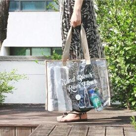 ビーチバッグ トートバッグ 大容量 プール サマーバッグ ロゴ 透明バッグ クリアバッグ