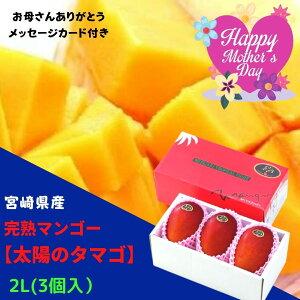 【送料無料】「みやざきブランド!」完熟マンゴー「太陽のタマゴ」 2Lサイズ 3個入り(約1kg)※こちらの商品は『母の日専用です。』※母の日用メッセージカード付き