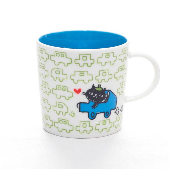 MUGOO。黒猫とパターン柄がオシャレでかわいいデザインマグカップ NekoNeko「ネコネコドライブ」 誕生日プレゼント 女性 猫柄 食器 猫 雑貨 黒猫グッズ マグ