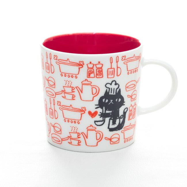 MUGOO。黒猫とパターン柄がオシャレでかわいいデザインマグカップ NekoNeko「ネコネコキッチン」 母の日ギフト 誕生日プレゼント 女性 猫柄 食器 猫 雑貨 黒猫グッズ マグ