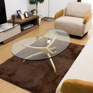 オーバルデザインアッシュ無垢材脚のガラストップセンターテーブル/Beans