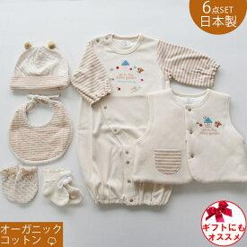 日本製 オーガニックコットン ツーウェイオール 兼用ドレス お帽子 よだれかけ スタイ ベストミトン 靴下の6点セット 新生児赤ちゃん用 男の子 女の子にもおすすめの男女兼用デザイン ベビー用品 出産準備