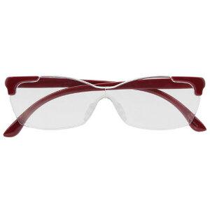 キングジム メガネ型拡大鏡 花柄 アカ AM41拡大鏡 メガネ型 重ね掛けOK 収納袋付き ルーペ 洗える鼻パッド