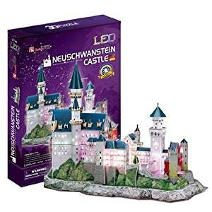 3Dクラフト ノイシュヴァンシュタイン城(LED付) L174h3D 立体パズル かんたん組立 LED搭載 ノリ・ハサミ・カッター不要 クリスマスや誕生日プレゼントとしても