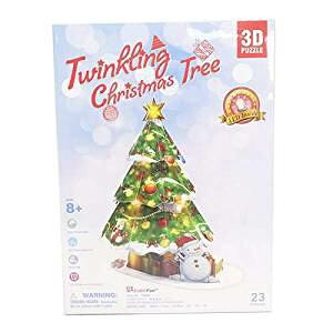 3D Craft model クリスマスシリーズ Christmas Tree(LEDライト付) P680h3D 立体パズル かんたん組立 LEDライト付き ノリ・ハサミ・カッター不要 クリスマスや誕生日プレゼントとしても