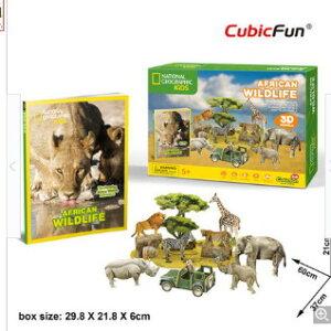 3Dクラフト アフリカンワンダフル(アフリカの野生生物) DS0972h3D 立体パズル かんたん組立 ノリ・ハサミ・カッター不要 クリスマスや誕生日プレゼントとしても