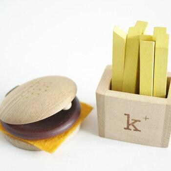 クリスマスプレゼントに!kiko+/キコhamburgerset(ハンバーガーセット)お腹の代わりに夢をふくらませてくれるカスタネットとマラカス!【木のおもちゃ】出産祝い、ギフトやプレゼントに♪