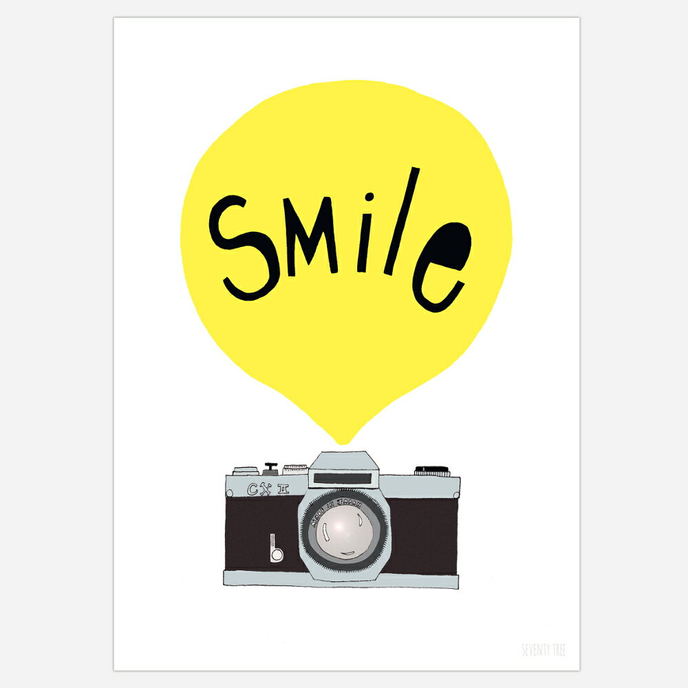 seventy tree / セブンティーツリー アートポスター SMILE YELLOW PRINTS 30×40cm【インテリア アート】【ポスター】【イギリス インポート】【ウォールデコ】