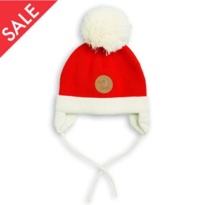 ★30%OFF セール (商品入替のため)★【DM便OK】mini rodini / ミニロディーニ 2017AW PENGUIN BABY HAT red ペンギン ベビーニット帽 36/38(0-1ヶ月) 40/42(1-4ヶ月)
