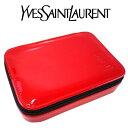 イヴサンローラン Yves saint Laurent YSL ☆バニティ ポーチ 小物入れ マルチケース アクセサリーケース ロゴ 赤 レ…