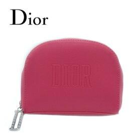 ディオール ビューティー Dior Beauty☆ポーチ 小物入れ ロゴ 桃 ピンク 山型 ラウンドファスナー 化粧 メイク コスメ ブランド お祝い 贈り物 プレゼント ギフト