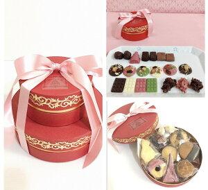 高級ショコラ・サブレ詰め合わせギフト 2段ケーキラッピング スイーツギフトBOX クッキー缶風高級チョコレート プレゼント 女性 上質バタークッキー 焼き菓子 チョコレー