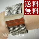 【Monchua】ブレスレット バングル キラキラ スワロフスキーブレスレット 幅広バングル