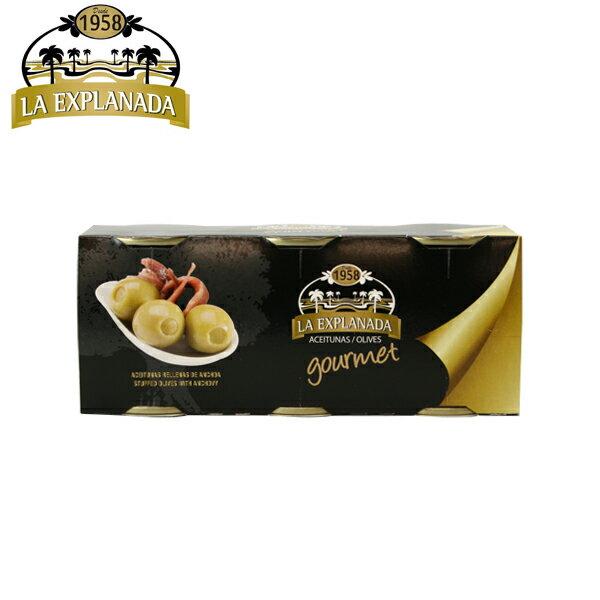 la explanada anchoa gourmet エクスプラナーダ アンチョビ入りオリーブ 125g×3缶セット