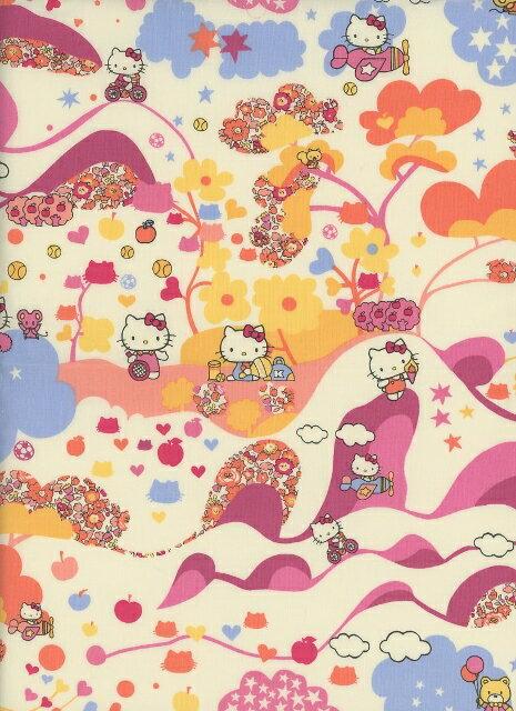 LIBERTYリバティプリント生地(Mim Hello Kitty ミム・ハローキティ)国産キティ柄110cm巾