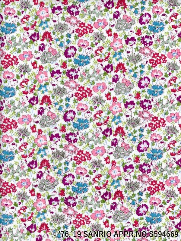 ハローキティLIBERTYリバティプリント生地(Spring Meadow)スプリングメドウDC29967国産キティ柄110cm巾ピンク